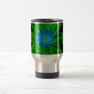 green neat water lily flower against green leaves mug