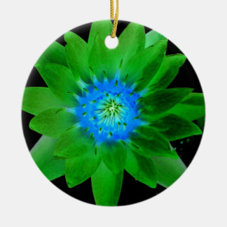 green neat water lily flower against green leaves christmas tree ornament