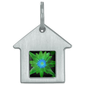 green neat water lily flower against green leaves pet ID tags