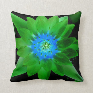 green neat water lily flower against green leaves pillow