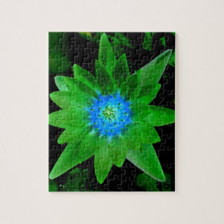 green neat water lily flower against green leaves puzzles