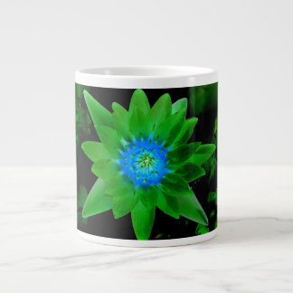 green neat water lily flower against green leaves extra large mug