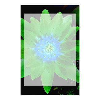 green neat water lily flower against green leaves stationery