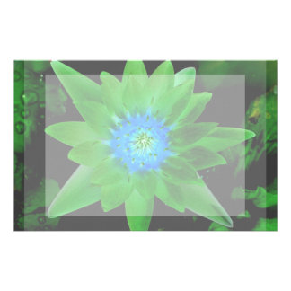 green neat water lily flower against green leaves customized stationery