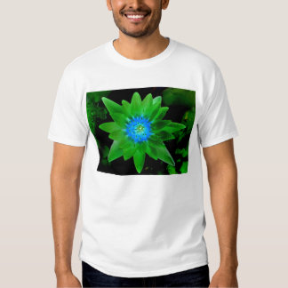 green neat water lily flower against green leaves t shirt