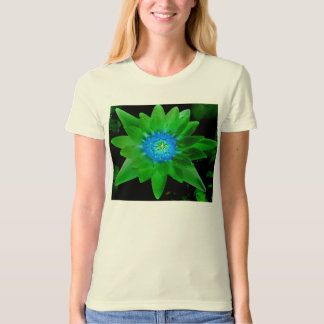 green neat water lily flower against green leaves t shirts