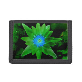 green neat water lily flower against green leaves tri-fold wallet