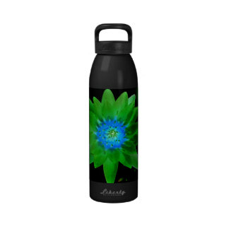 green neat water lily flower against green leaves drinking bottles