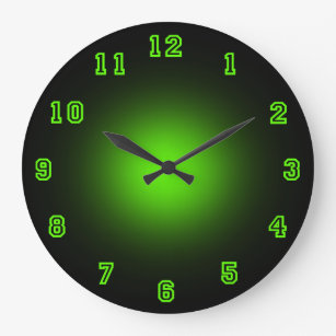 Green Neon 10 75 Large Clock