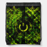 Green Neon Fire Drawstring Bags