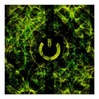Green Neon Fire Poster