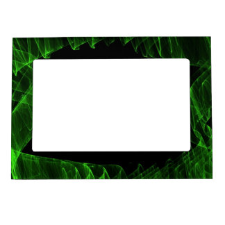 Green neon flame on black magnetic picture frame