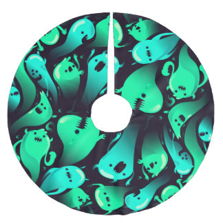 Green Neon Ghost Pattern Brushed Polyester Tree Skirt
