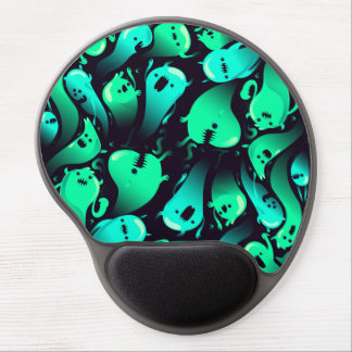 Green Neon Ghost Pattern Gel Mouse Pad