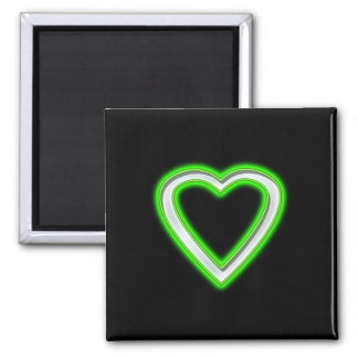 GREEN NEON HEART 2 INCH SQUARE MAGNET