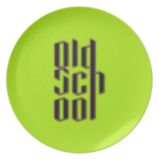 Green Neon Old School Party Plates