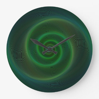 Green neon spiral large clock