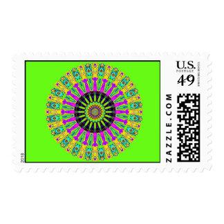 Green Neon Spokes Kaleidoscope Postage Stamps