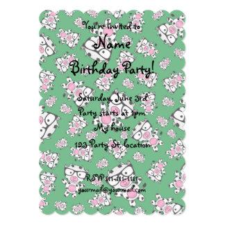 Green nerd cow pattern 5x7 paper invitation card