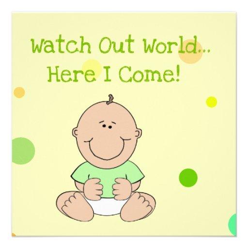 """Green Neutral Bald Baby Baby Shower Invitation 5.25"""" Square Invitation Card   Zazzle"""