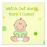 Green Neutral Bald Baby Baby Shower Invitation