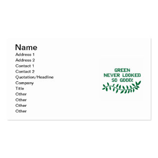Green Never Looked So Good T-shirts and Gifts Double-Sided Standard Business Cards (Pack Of 100)