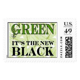 Green New Black Stamp