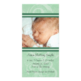 Green New Style New Baby Photo Card