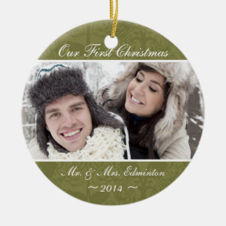 Green Newlywed First Christmas Ornament