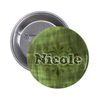 Green Nicole 2 Inch Round Button