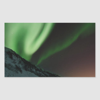 Green Northern Lights Aurora Borealis Norway Rectangular Sticker