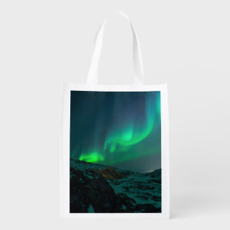Green Northern Lights Grocery Bag