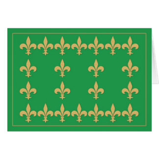 Green Note Card with Gold Color Fleur-de-Lis