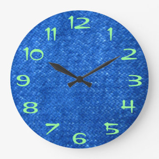 Green Numberd on Blue Denim Large Clock