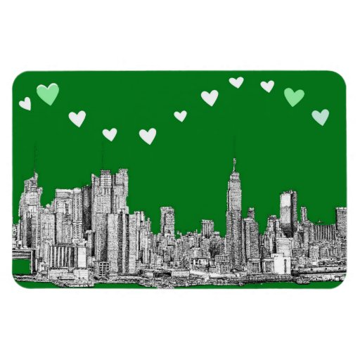 green NYC hearts Magnets