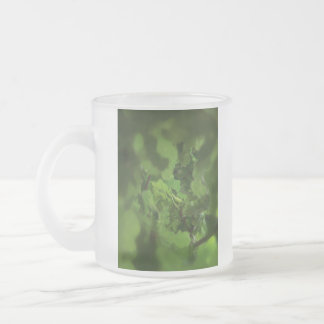 Green Oak Leaves. Gap in the branches. 10 Oz Frosted Glass Coffee Mug