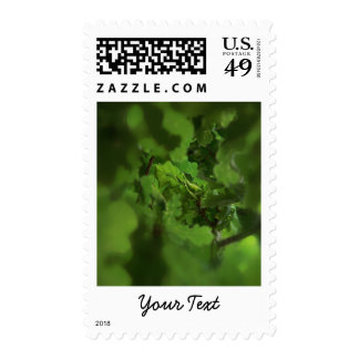 Green Oak Leaves. Gap in the branches. Postage