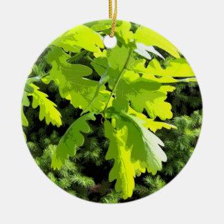 Green Oak Tree Leaves Ceramic Ornament
