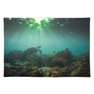 Green ocean lagoon sea turtle underwater placemats