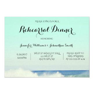 Green ocean rehearsal dinner invitations