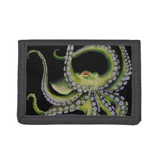 Green Octopus Black Trifold Wallet