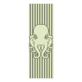 Green Octopus Bookmark Double-Sided Mini Business Cards (Pack Of 20)