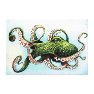 Green Octopus Canvas Print