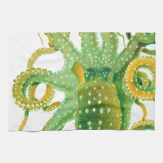 green octopus kitchen towels