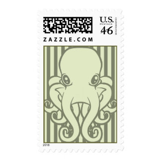 Green Octopus Postage Stamps