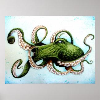Green Octopus Poster