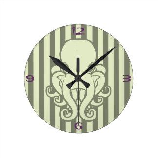 Green Octopus Round Clock
