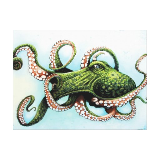 Green Octopus Stretched Canvas Print