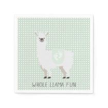 Green & Off-White Gender Neutral Llama Baby Shower Napkin