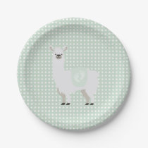 Green & Off-White Gender Neutral Llama Baby Shower Paper Plate